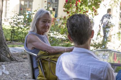 Beth Juncker og Kim Fupz Aakeson. (Foto Mario Habenbacher)